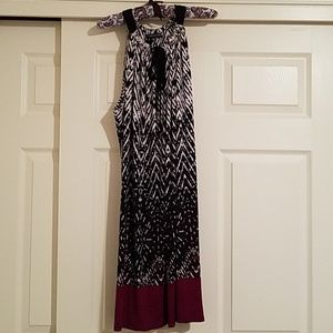 Black, white, and cranberry dress